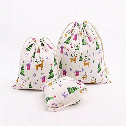 Weihnachtsbaum Tasche, tianranrt Weihnachtsbaum drucken Kordelzug Beam Port Aufbewahrungstasche Reisetasche Geschenk Tüte, canvas, White M, 32*25cm (Großhandel Canvas Schuhe)