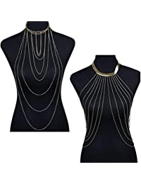 FemNmas Combo Of 2 PCS Sexy Gold Tone Body Chain For Women Bikini Belly Chain Tassel Crossover Necklace Adjustable...
