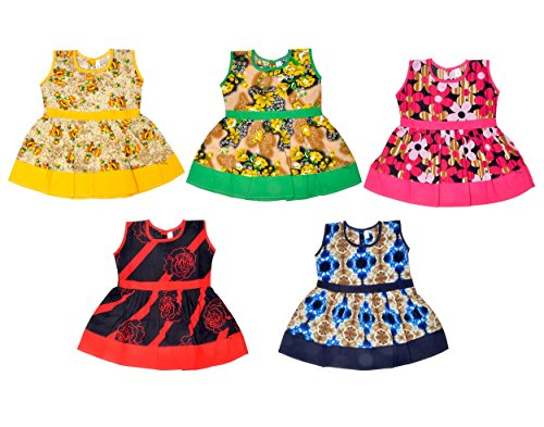 Sathiyas Baby Girls Colourful Gathered Dresses (Pack of 5) (0-6 Months)