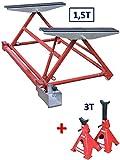 EQUIPEMENT EXPRESS SICOBA Mini Pont Mobile Basculant pour Levage Auto 1500 kg 1,5T+ 1 Paire de chandelles 3T