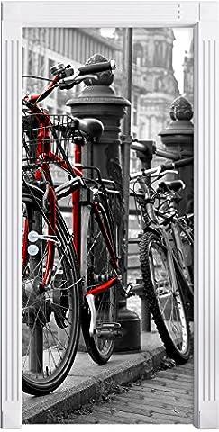 Vélos axe navigable noir mural / blanc, Format: 200x90cm, cadre de porte, porte autocollants, décoration de porte, porte autocollants