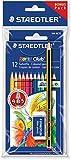 Staedtler Noris Club 61 SET6 Buntstifte, erhöhte Bruchfestigkeit, sechskant, Set mit 12 brillanten Farben, Bonuspack mit Radierer und Bleistift