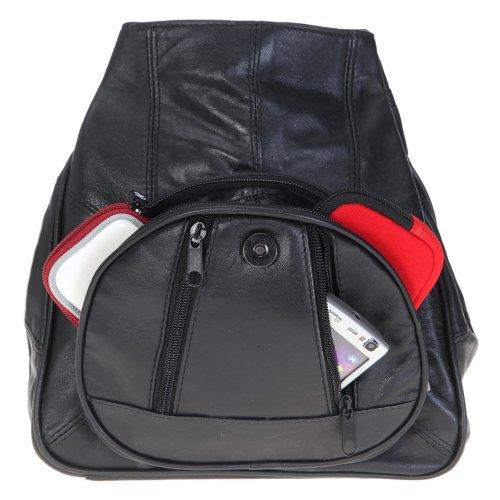 Bag Street Rucksack schwarz Leder-Damenrucksack mit Fee-Anhänger OTJ600S (Leder Schwarz London-hunter)