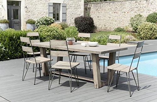 MACABANE 509014 Salon de Jardin Couleur Gris en Teck et Acier Dimension 200cm X 90cm X 75cm