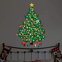 """Wallflexi Christmas Decorations Wall Stickers """" Glow in Dark Christmas Tree with Alphabets """" Wall Murals Decals living Room Children Nursery School Restaurant Cafe Hotel Home Office Décor, multicolour"""