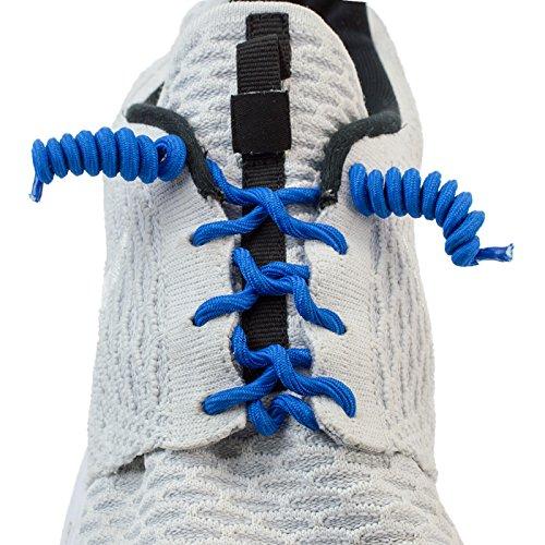 Selbstbindende elastische spiralförmige Schnür-senkel in blau (in 10 verschiedenen Farben erhältlich) für Sportler, Kinder, Damen und Herren-schuhe, Schwangere etc., elastic laces, von Kobert-Goods