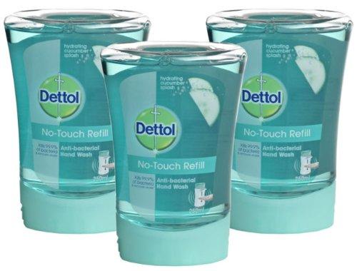 Dettol No Touch Lot de 3 recharges de savon pour distributeurs automatiques Anti-bactérien Tue 99,9 % des bactéries 250 ml