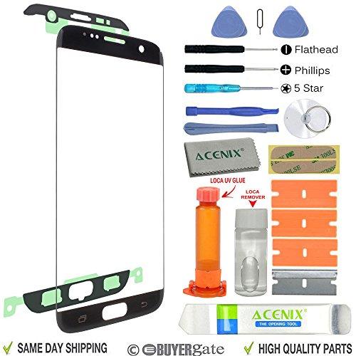 ACENIX Universal Reparaturset Ersatz Bildschirm Front Außen Objektiv Reparatur Kit schwarz für Samsung Galaxy S7Edge + UV-Klebstoff und Öffnung Pry Tools