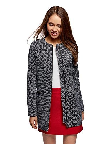 oodji Ultra Damen Kragenloser Mantel mit Reißverschluss, Schwarz, DE 34 / EU 36 / XS