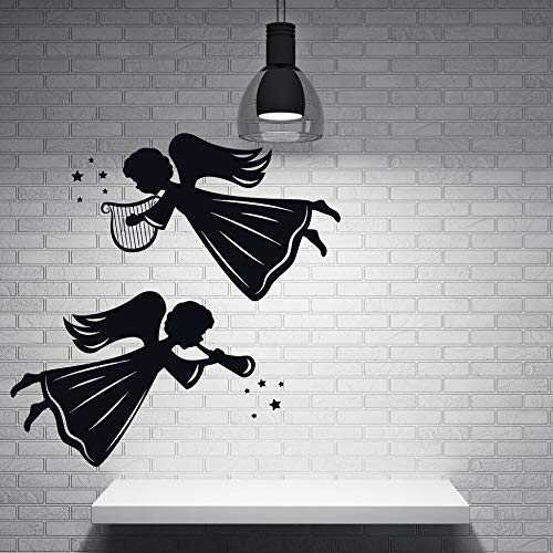 Engel und Heiligen Dekor Wandaufkleber Vinyl Aufkleber Engel Winged Wesen Harfe Licht Rohr Design Abnehmbare Wand Tattoo 56 * 56 cm -