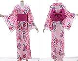 K-77 Pink rosa Blumen ORIGINAL Japan Damen Kimono YUKATA OBI Gürtel Baumwolle Kawaii-Story