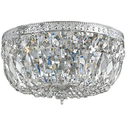 712-CH-CL-MWP Richmond 3LT Flush Mount, Chrome Finish with Clear Hand Cut Crystal by Crystorama