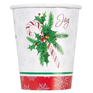 Unique Party 49816255bastón de caramelo Navidad vasos de papel, pack de 8