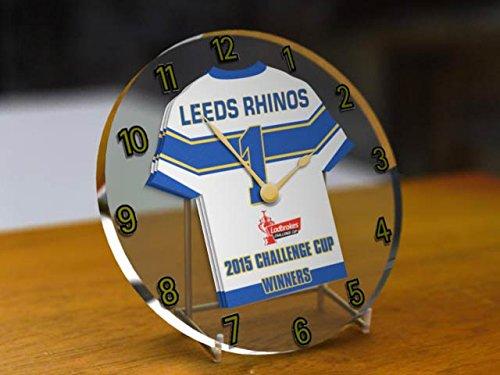 Leeds Rhinos Ganadores de la Liga de Rugby Club de Fútbol-ladbrokes Desafío Cup 2015reloj de escritorio con Conmemorativa-Champions