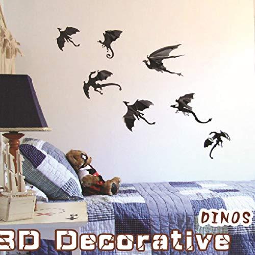 XT_Direct Halloween Dekoration Drache Wandaufkleber Halloween Fantasy Dekorative Dinosaurier Boy Room Power Spiel 3D Black Dragon abnehmbare Fensteraufkleber Halloween Party Supplies 42PCS