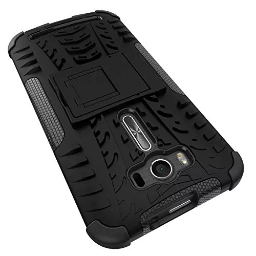 YHUISEN Hyun Pattern Dual Layer Hybrid Armor Case Abnehmbar Kickstand 2 In 1 Shockproof Tough Rugged Case Cover für Asus Zenfone 2 Laser ZE500KL (5,0 Zoll) ( Color : Orange ) Black