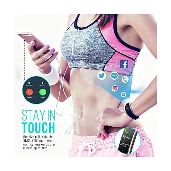 FITFORT Pulsera de Actividad Reloj Inteligente para Hombre y Mujer, IP68 Impermeable Reloj Deportivo con Rtmo Cardíaco, Presión Sanguínea, Sueño Monitor, Contador y Calorías para Android y iOS 5