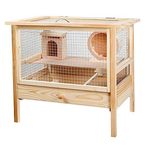 Melko Hamsterkäfig Nagerkäfig Käfig Kleintierkäfig aus unbehandeltem Holz, 53 x 48 x 37 cm, inkl. klappbarem Deckel, Haus, Laufrad, Kletterrampe und Schlafkiste