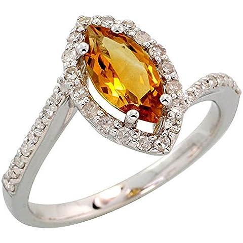 In oro bianco 14 k con anello, w/0,32 kt con diamanti taglio brillante, ct 1,17 & 10 x 5 mm, con pietra di quarzo citrino, taglio Marquise, 1/(2 5,08 cm (13