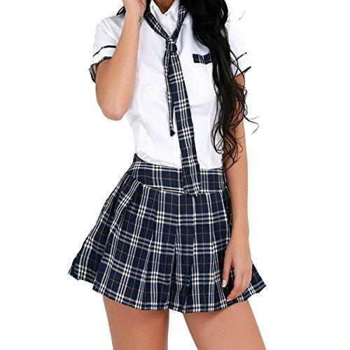 Baby Kostüm Doll - Freebily Damen Reizwäsche Schulmädchen Kostüm Plaid Uniform Mit Krawatte Dessous Set Halloween Kostüm (XXL, Weiß & Marineblau)