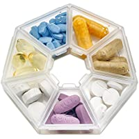 Preisvergleich für MEDca Weekly Pill Organizer Clear 7-Sided Pill Reminder, Round Shaped MEDca Wöchentliche Pillendose, Durchsichtige...
