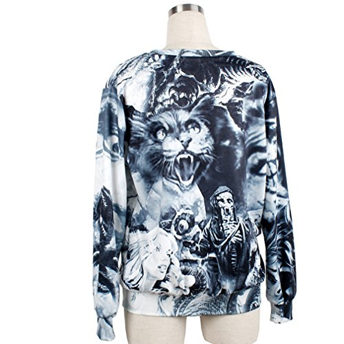 THENICE femmes sous-pulls Sweatershirts impression numérique - Langtou Skull