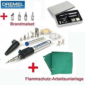 DREMEL Lötkolben / Brandmalkolben / Brandmalset / Pyrographie Set Versatip 2000-6 - inklusive 6-tlg. Zubehörset, 4-tlg. Brandmalset, Flammschutz-Arbeitsunterlage und Metall-Aufbewahrungsbox
