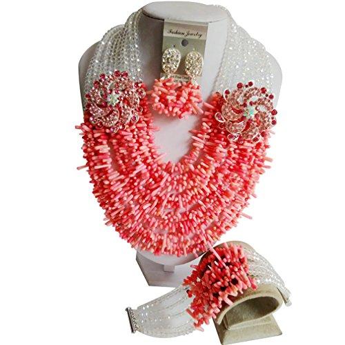 Laanc Mode du Nigeria africain traditionnel de mariage Perles 10couches Corail Ensemble de bijoux-A0005 Water red and transparent AB Color