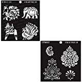 """CrafTreat Stencil - CrafTreat Indian Motifs1 and 2 (2 pcs)   Reusable Painting Template for Art and Craft, Mixed Media, Wall Painting, Home Decor, DIY Albums, Card Making and Fabric Painting 6""""X6"""""""