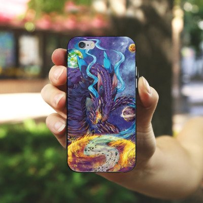 Apple iPhone X Silikon Hülle Case Schutzhülle Drache Fantasie Traum Silikon Case schwarz / weiß