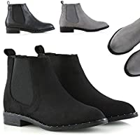 Womens Ankle Boots Studded Flat Heel Ladies Biker Pull On Goth Chelsea Shoes