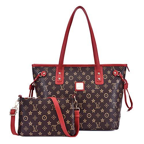 Ldyia Alte Blume Neue große Kapazität Mode einfach lässig Damen Schulter diagonale Handtasche Zweiteilige Mutter Tasche, rote Umhängetasche