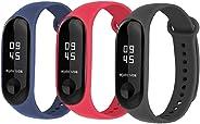 BRone Reloj Mi Band 3 Correas,3 Piezas Coloridos Impermeable Reemplazo Correas Reloj Silicona Banda para XIAOMI Mi Band 3 - Rojo Negro Azul