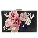 Milisente Damen Clutch Tasche Blumen Abendtasche Hochzeit Bag Elegante Handtasche (Schwarz)