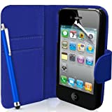 Supergets� Apple iPhone 4 / 4S Dark Blue Wallet Case, Screen Protector, Touch Screen Stylus And Polishing Cloth