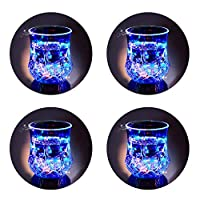 LED Light Up Cups, 2win2buy Pineapple Shape Flashing Automatic Water Activated Color Changing Beer Cola Juice Wine Whisky Liquid Drinkware Cups for Bar Disco Night Club Party Halloween Christmas (4)