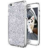 OKZone Coque iPhone 6S,Coque iPhone 6, Mince Étui en Silicone Souple Paillette Strass Brillante Bling Bling Glitter de, Flexible Plein-Corps TPU pour Apple iPhone 6/iPhone 6S 4,7 Pouces (Argent)