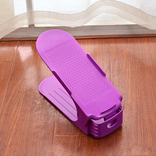 Decorazioni per la casa Reasoncool Regolabile shoe carta organizer, salvaspazio scarpe Holder shoe rack (Verde (10 PCS)) Viola (10 PCS)