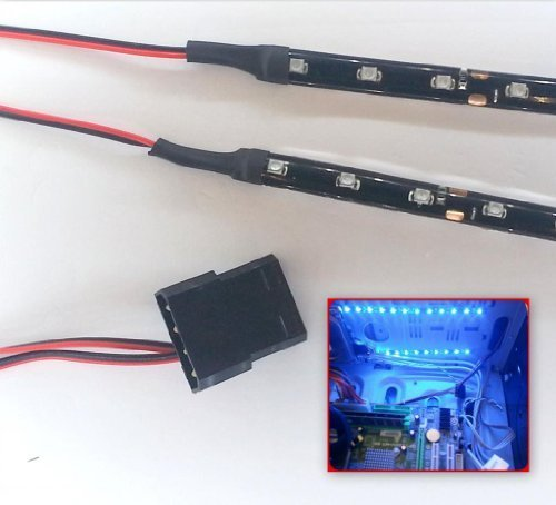 bright-blue-led-modding-case-light-kit-9-led-strip-x2-15cm-strips-molex-40cm-tails