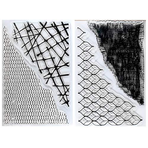 Kwan Crafts 2 Bögen verschiedene Stile Grid Fish Net Stoff Hintergrund Transparent Stempel für Karten Basteln Dekoration und DIY Scrapbooking