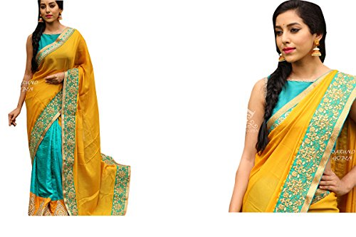 CmDeal Orange & Sky Blue Color Naylon Net & Georgette Embroidered Party Wear Saree with Blouse Piece-5427SEKT-3141  available at amazon for Rs.1669