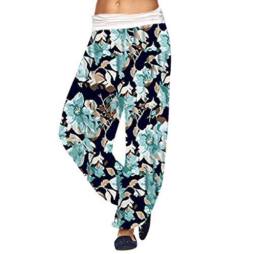 LUGOW Leggings Damen Aladinhose Pants Pumphose Baggy Palazzo Hosen Yoga Haremshose Günstig Blumendruck Lange Hosen Strandhosen Weite Hose Freizeithose(XXXXX-Large,Grün) - Cord-bundfalten-shorts