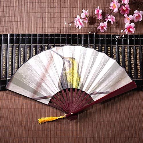 WYYWCY Chinesische Handheld Fan Kolibris saugen Nektar mit Bambusrahmen Quaste Anhänger und Stoffbeutel Faltfächer Wandkunst Gefaltete Fans Handheld Vintage Hand Fan