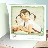 Schulanfang Danksagung, Einschulung Aquarell 40 Karten, Quadratische Klappkarte 145x145 inkl. weiße Umschläge, Grün
