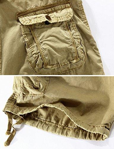 Mochoose Herren Sommer Casual Camouflage Baumwoll Twill Cargo Shorts Multi Taschen Outdoor Tragen Hosen Schwarz Weiß Tarnung