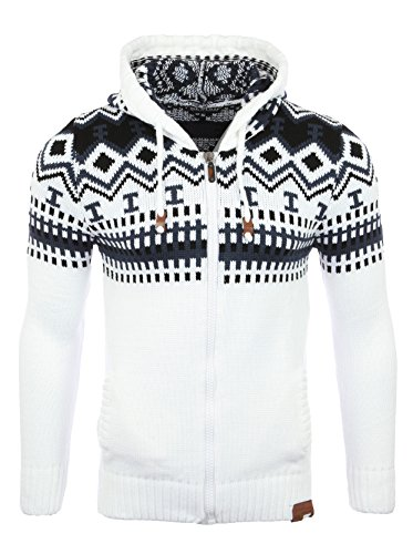Reslad Herren Grobstrick Norweger Pullover Winter Strickjacke Kapuzenpullover RS-3104 (2XL, Weiß)