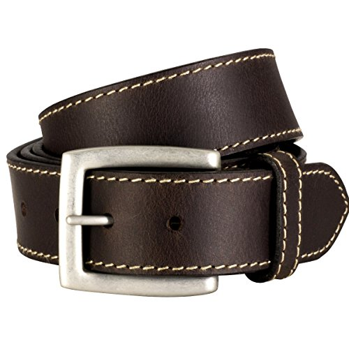 Lindenmann Mens Leather Belt/Mens Belt, full grain leather belt XL, dark brown, Größe/Size:130