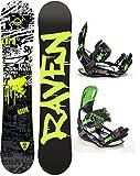 Snowboard Set: Snowboard Raven Core Rocker 2018 + Bindung Raven s220 Green (155cm Wide + s220 Green XL)