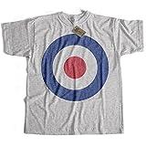 Old Skool Hooligans Classic Mod T shirt - RAF Roundel Target Logo T Shirt (large) grey