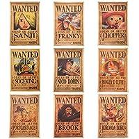ورق جدار 9 اوراق ون بيس زورو ايس سانجي ميهوك رايلي لوفي قائمة المطلوبين - One piece wanted posters 51 * 35.5 cm 9 Pcs wallpaper